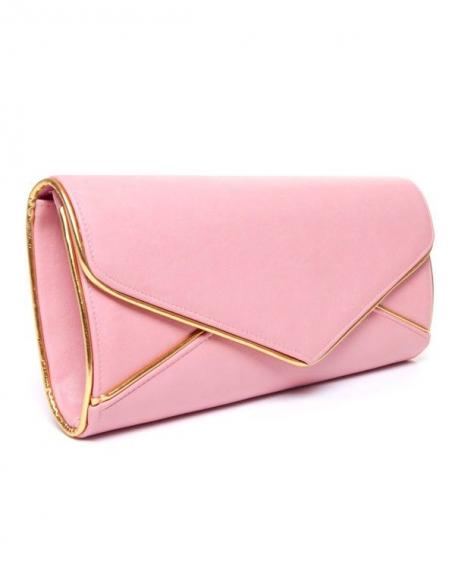 Sac femme Style Shoes: Grande pochette rose et doré