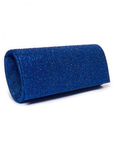Sac femme Style Shoes: Pochette bleue avec strass