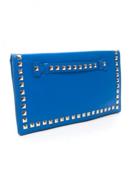 Sac femme Style Shoes: Pochette cloutée bleu