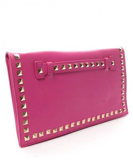 Sac femme Style Shoes: Pochette cloutée rose