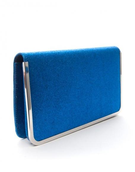 Sac femme Style Shoes: Pochette pailletée bleu