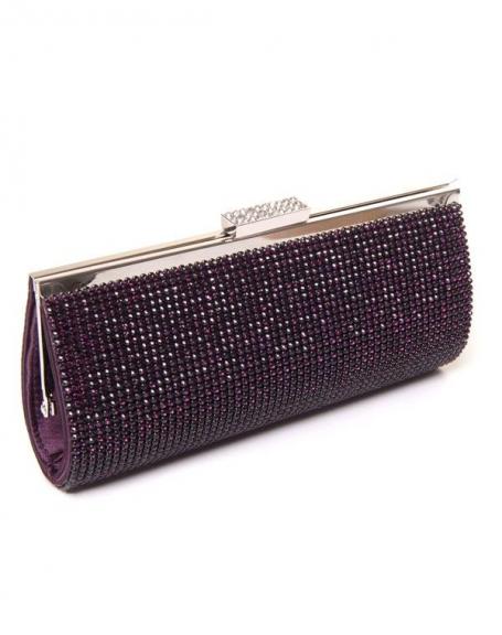 Sac femme Style Shoes : Pochette violet avec strass d'un côté