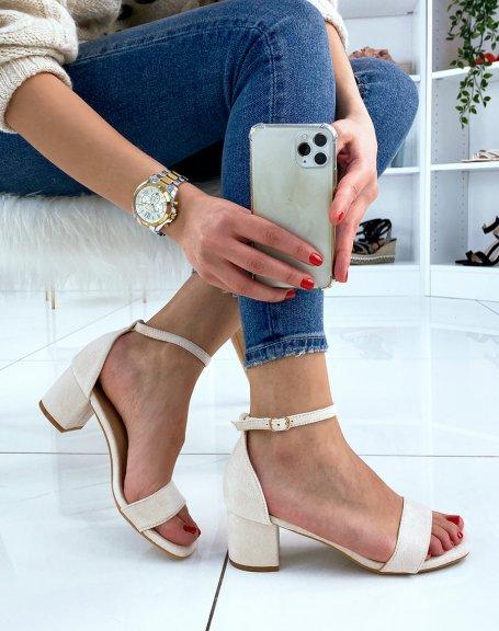 Sandale beige en suédine à petit talon
