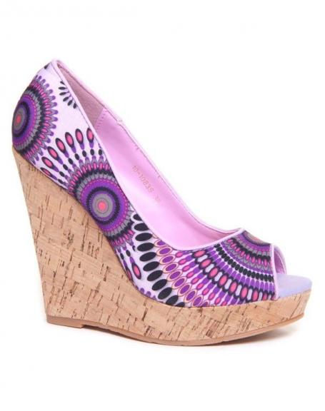Sandale Bellucci compensée violet à motif ethnique