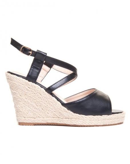 Sandale compensée noire en tressage de liège de chez Ideal