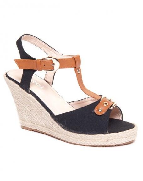 Sandale compensée noire et marron en tressage de liège