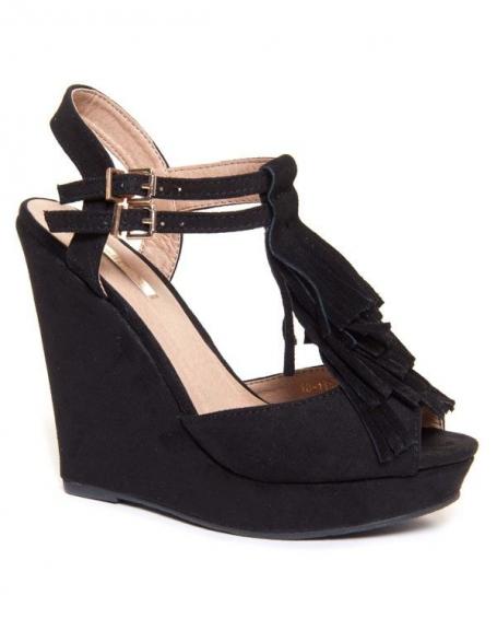 Sandale compensées noires avec frange Bellucci