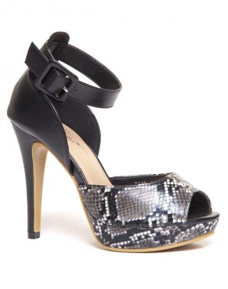 Sandale noire avec bride à la cheville et imprimé crocodile