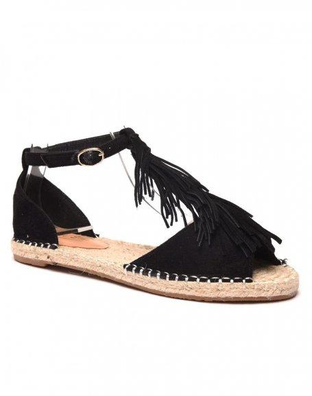 chaussure femme sandale noire avec frange. Black Bedroom Furniture Sets. Home Design Ideas