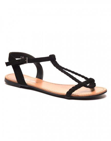 3a060f7ced896 Sandale nu pieds tressé noire pas cher