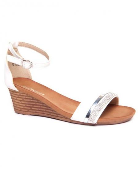 Sandale ouverte femme Bellucci blanche compensée