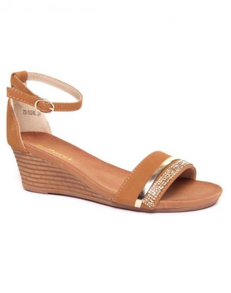 Sandale ouverte femme Bellucci camel compensée