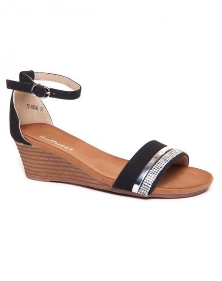Sandale ouverte femme Bellucci noire compensée