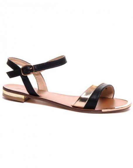 Sandale plate noire et dorée avec détails métalliques