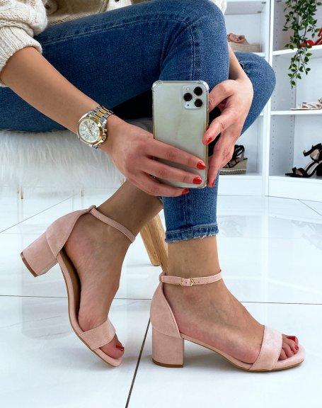 Sandale rose pastel en suédine à petit talon