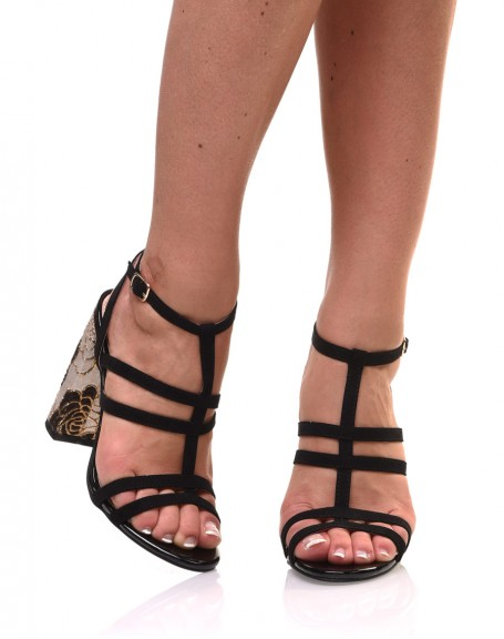 Sandales à paillettes noires à talon brodé