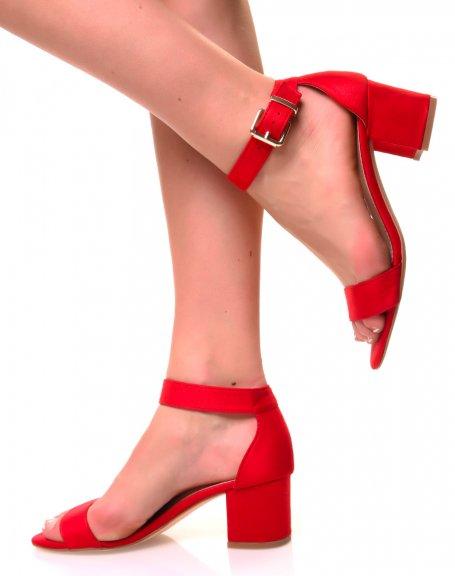 Sandales à petits talons en suédine rouges