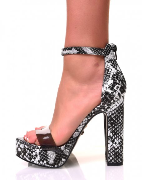 Sandales à plateforme effet peau de serpent