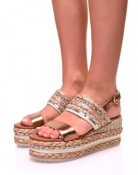 Sandales à semelles compensées bronzes et osier