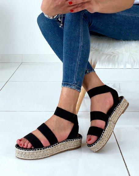Sandales à semelles compensées et à multiples brides noires