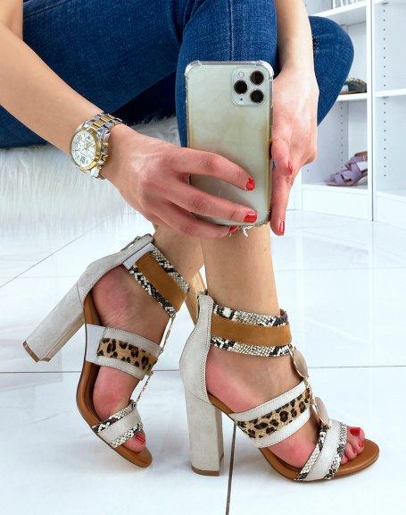 Sandales à talon beige à multiples motifs animaliers