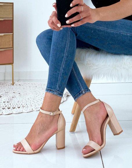 Sandales à talon beige mat