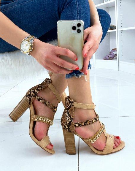 Sandales à talon camel à multiples lanières aux détails dorés et animaliers
