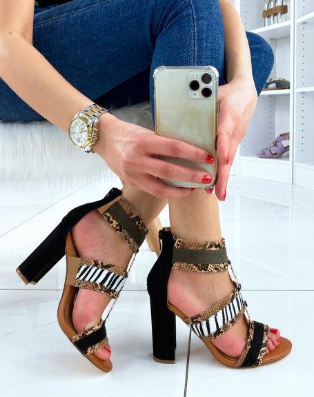 Sandales à talon camel à multiples motifs animaliers