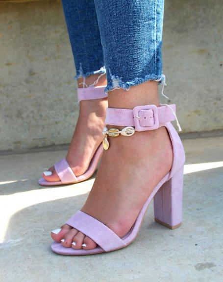 Sandales à talon en suédine lila à boucle carré