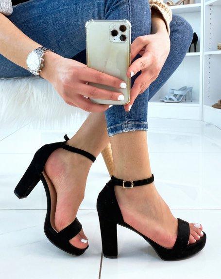 Sandales à talon en suédine noire