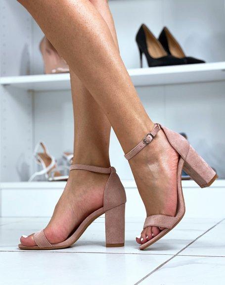 Sandales à talon en suédine rose pâle à fines lanières