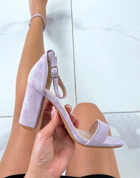 Sandales à talon en suédine violet pastel à fines lanières