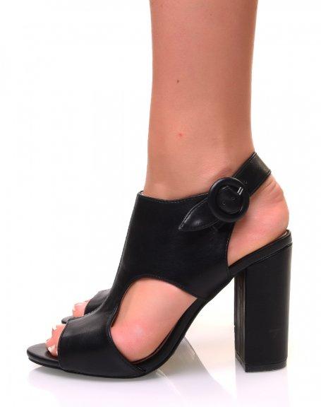 Sandales à talons ajourées sur le côté noires