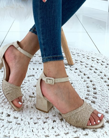 Sandales à talons beige avec bride en raphia