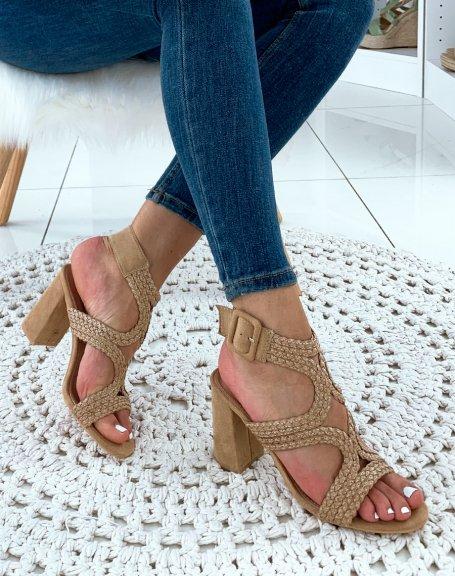Sandales à talons beige raphia