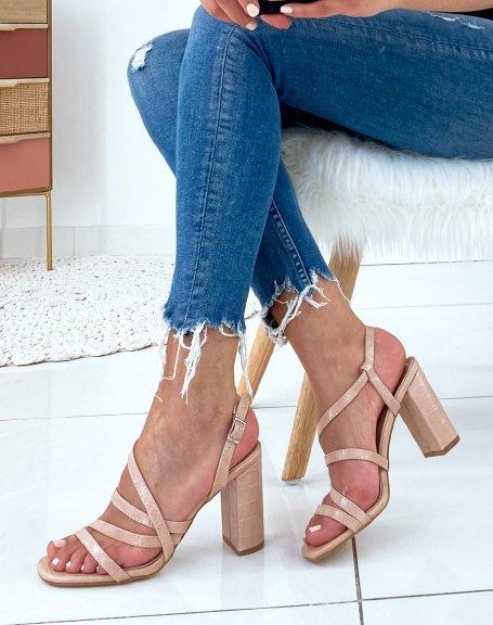 Sandales à talons beiges en effet croco