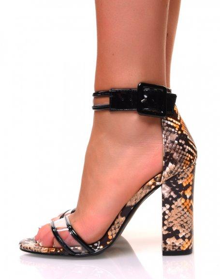 Sandales à talons carrés effet python jaune à sangles transparentes