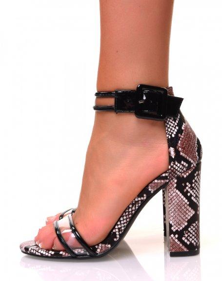 Sandales à talons carrés effet python marron à sangles transparentes