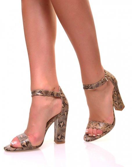 Sandales à talons carrés effet python texturé