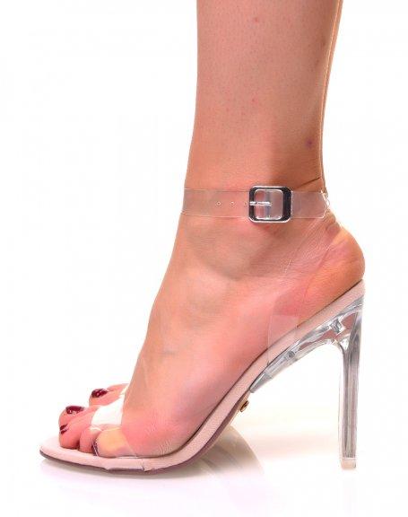 Sandales à talons carrés effet transparent beige