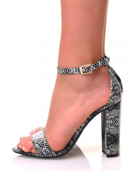 Sandales à talons carrés noires python