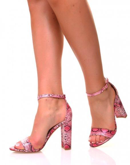 Sandales à talons carrés roses python