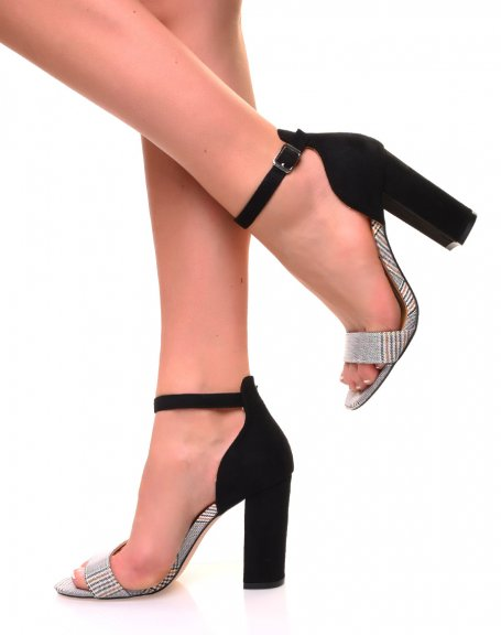 Sandales à talons jaunes et motif pied de poule argenté