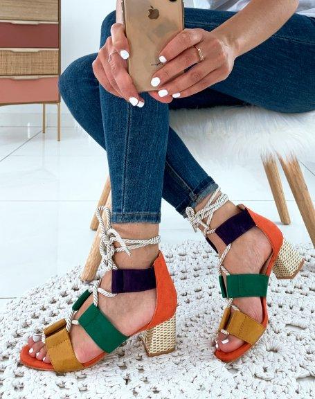 Sandales à talons multicolore