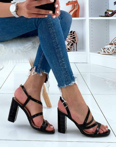Sandales à talons noires en effet croco