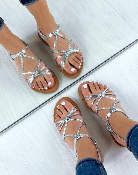 Sandales argentées à multibrides