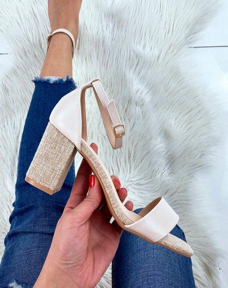 Sandales beige à talon en tissu