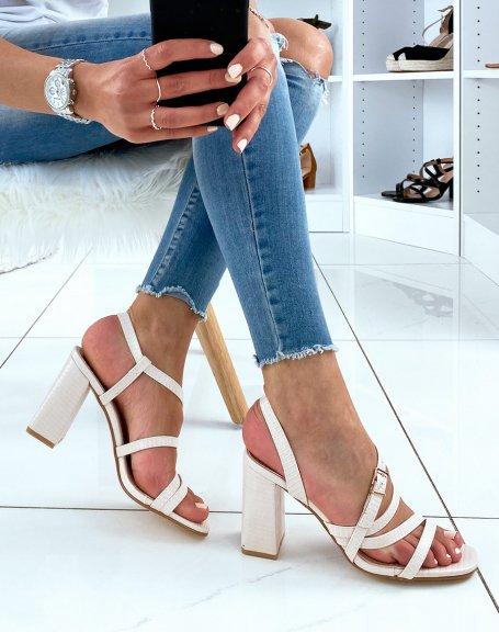 Sandales beiges à brides effet croco