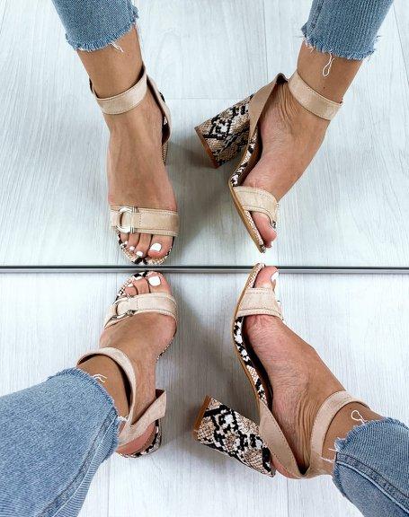 Sandales beiges à talon boc effet serpent