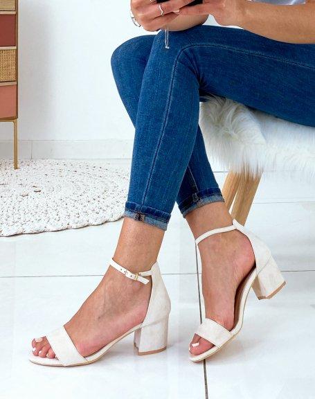 Sandales beiges en suédine à talon carré